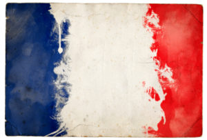 A splatter grunge effect tricolor flag of France
