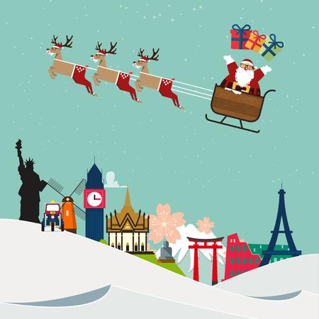 49105083 - santa claus travel around famous world landmark. vector illustration